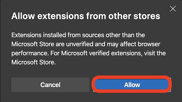 Allow extensions in Edge