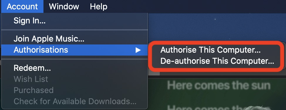 Authorizing or deauthorizing Mac from iTunes Store