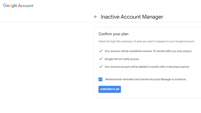 Auto delete inactive Google account