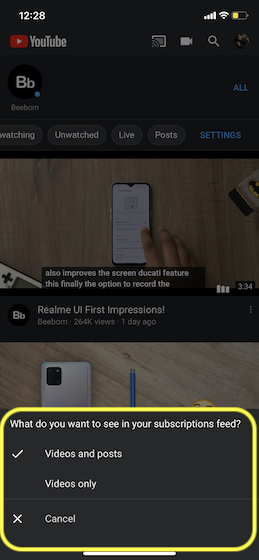 Choose how you want to filter your Youtube subscriptions
