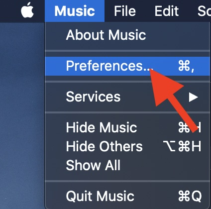Click on Preferences in Music menu