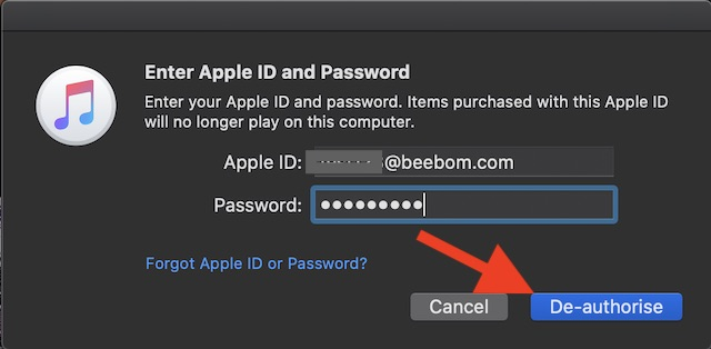 De-authorize Mac from iTunes