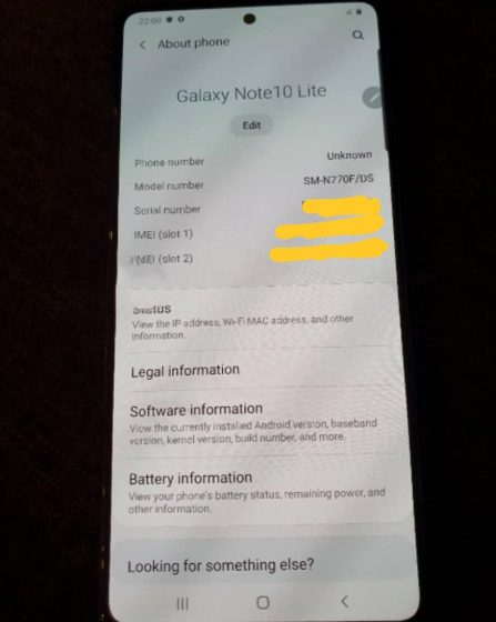 Samsung Galaxy Note 10 Lite front panel