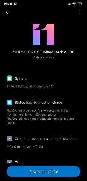 Poco F1 Android 10 MIUI 11 update