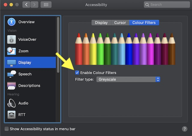 Enable Color filters on Mac