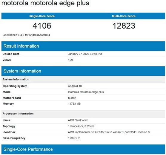 Alleged Motorola Edge+ Geekbench Listing Shows 12GB RAM