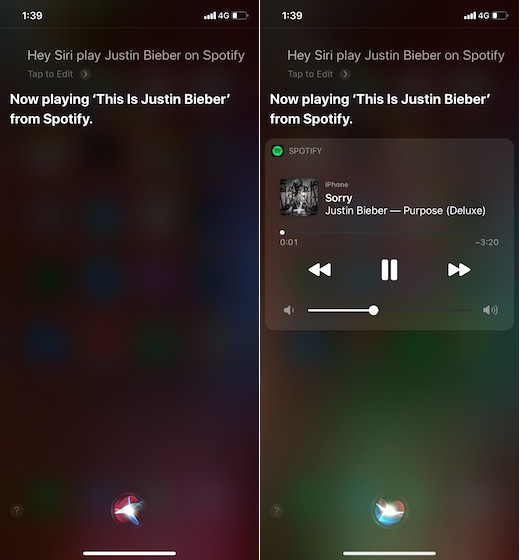 Playing Spotify music with Siri