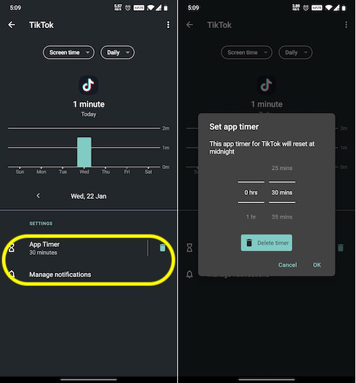 Set time limit for TikTok on Android