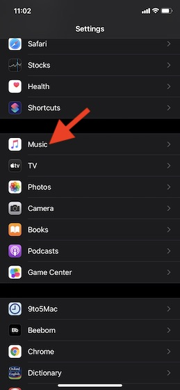 Tap on Music on your device