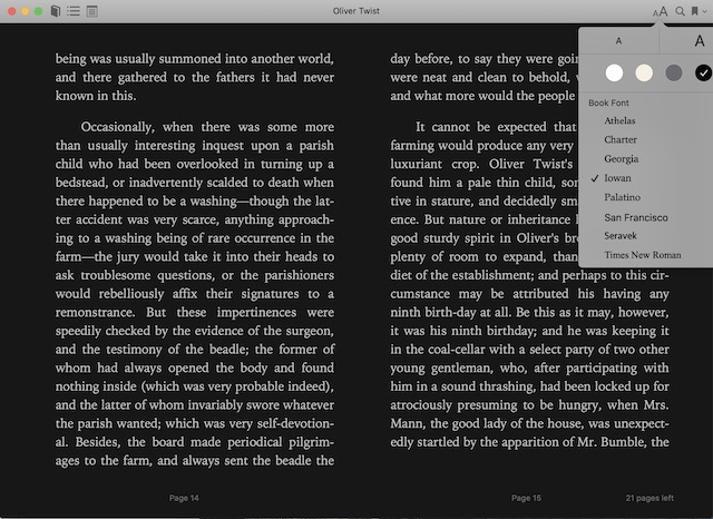 The dark theme inside Apple Books app