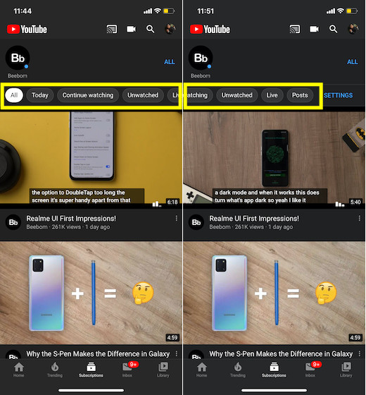 YouTube subscriptions feed