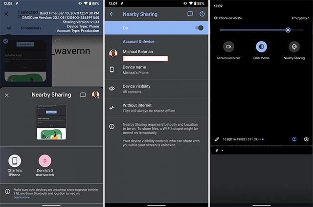 google nearby share feature screenshots