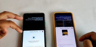 google nearby sharing in action