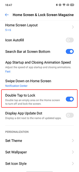 realme ui double tap lock