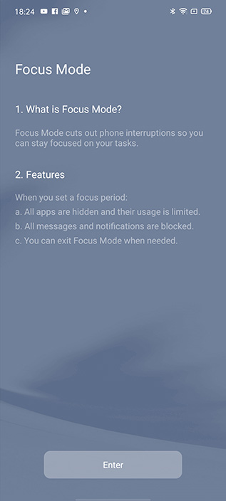 realme ui focus mode