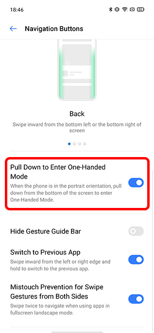 realme ui one handed mode