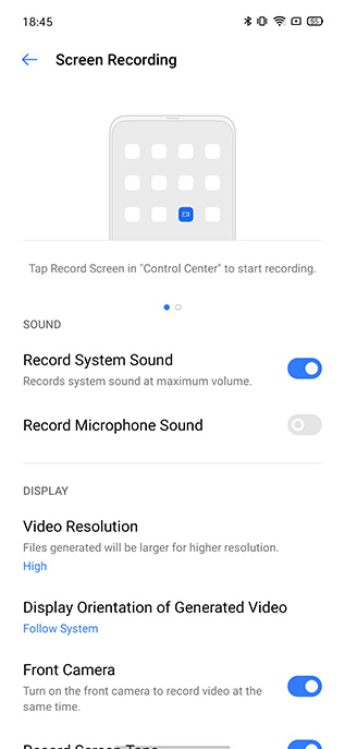 realme ui screen recording internal sound