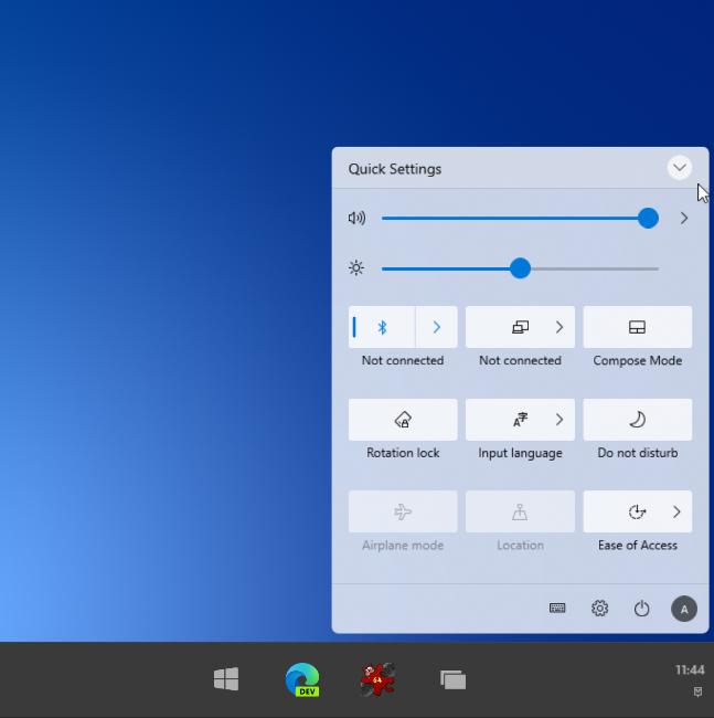 Windows 10X: Action Center
