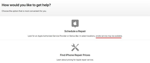 Apple support page