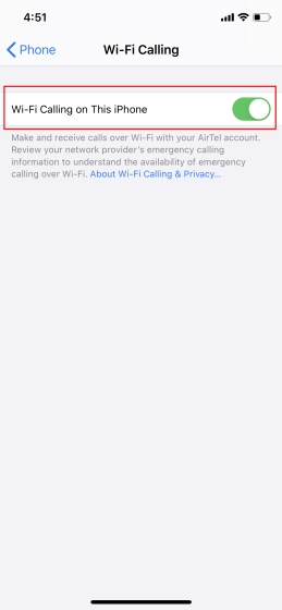 Enable WiFi Calling on iPhone