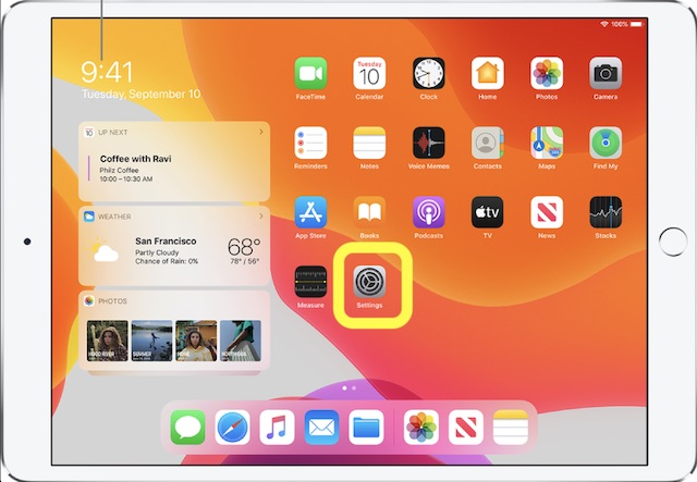 Open Settings app on your iPad