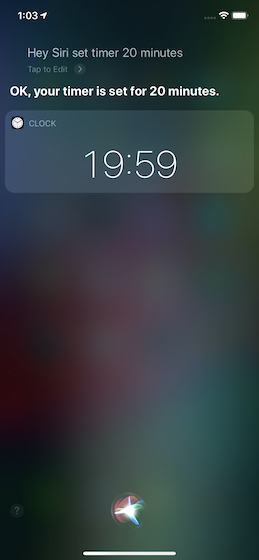 Set a timer using Siri
