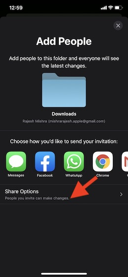 Tap on Share Options