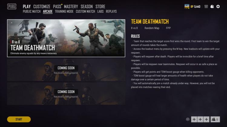 arcade lobby - team deathmatch - pubg