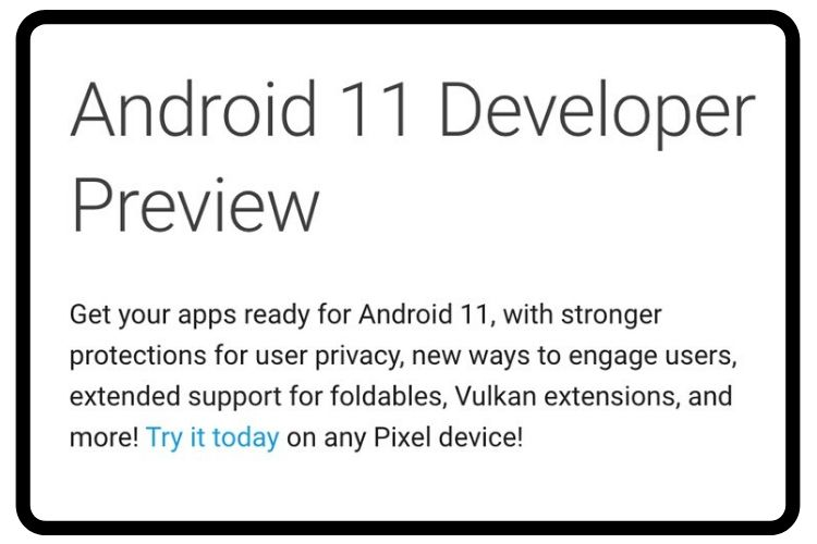 Android 11 Dev Preview listing spotted briefly