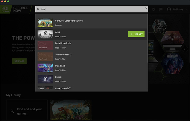 geforce now app search free games