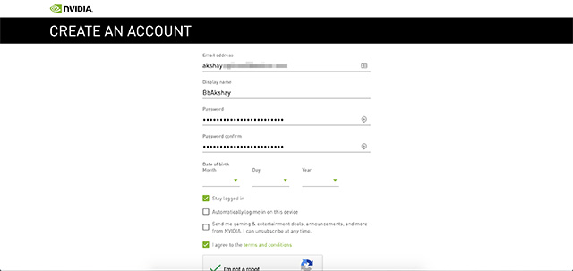 nvidia geforce now create account