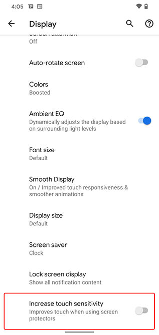 pixel 4 increase touch sensitivity