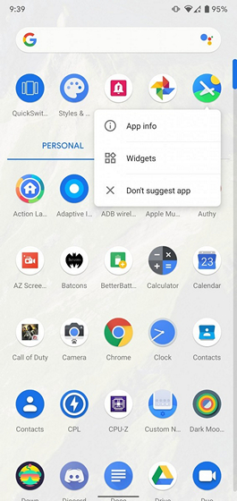 pixel launcher app suggestions