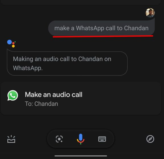 5. Make a Whatsapp Call through Google Assistant