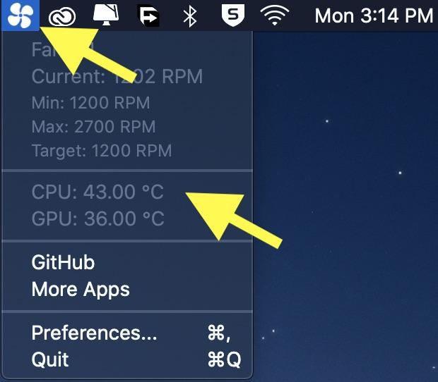 Check CPU temp of mac using menu bar app