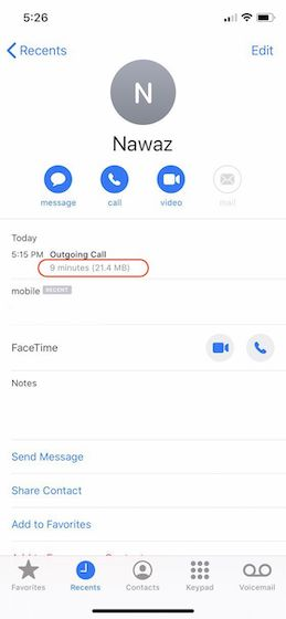 Check How Much Cellular Data FaceTime Uses on iPhone0005