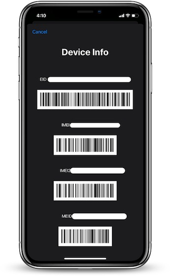 IMEI code for iPhone