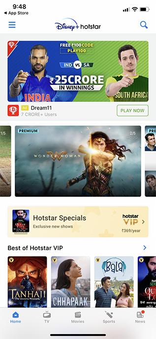 disney+ hotstar app ios