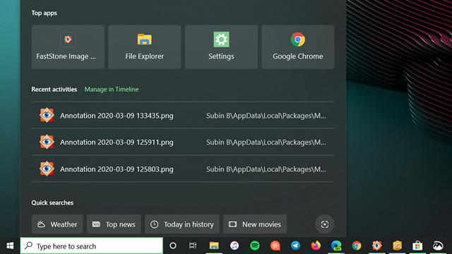 quick searches windows 10