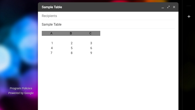 sample table gmail tables
