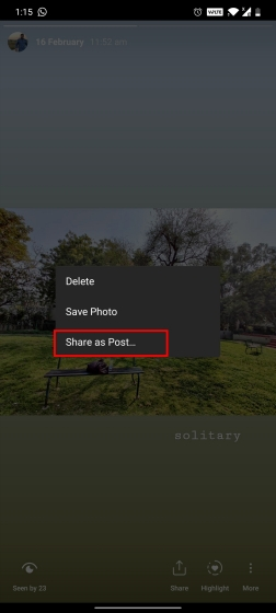 5. Share Stories as Post