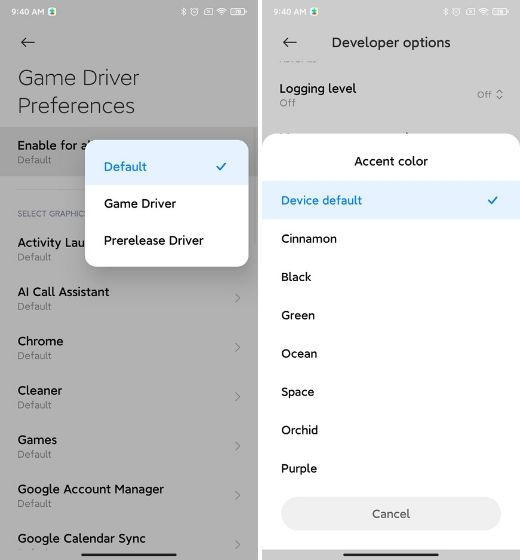 24. Game Driver and Other Developer Options Best MIUI 12 Features