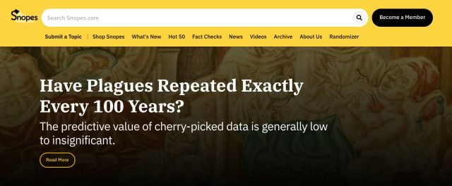 1. Snopes Best Fact-checking Websites