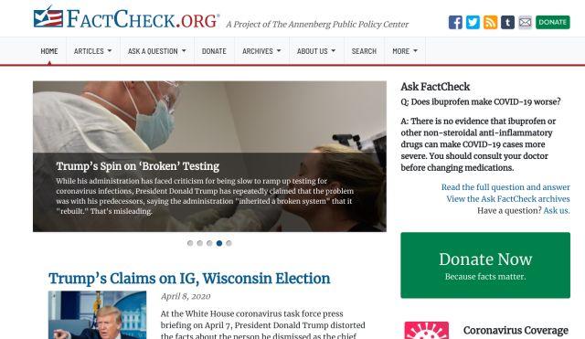 3. FactCheck.Org Best Fact-checking Websites