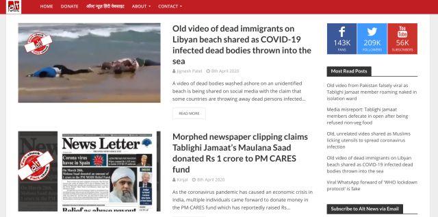 8. Alt News Best Fact-checking Websites