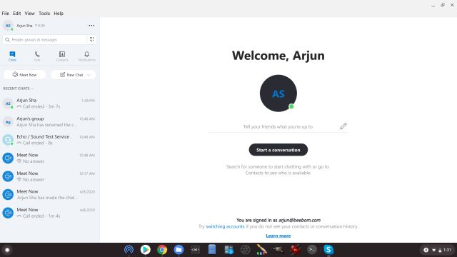 linux app for skype on chromebook