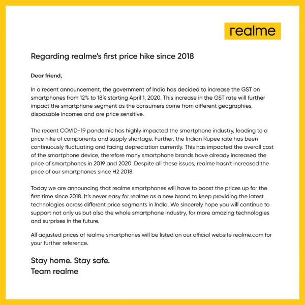 Realme smartphones price increased in India after hike in GST