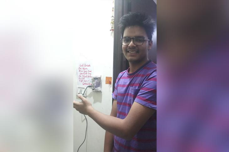 Class 11 Delhi boy develops touch-free doorbell.