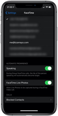 facetime toggle