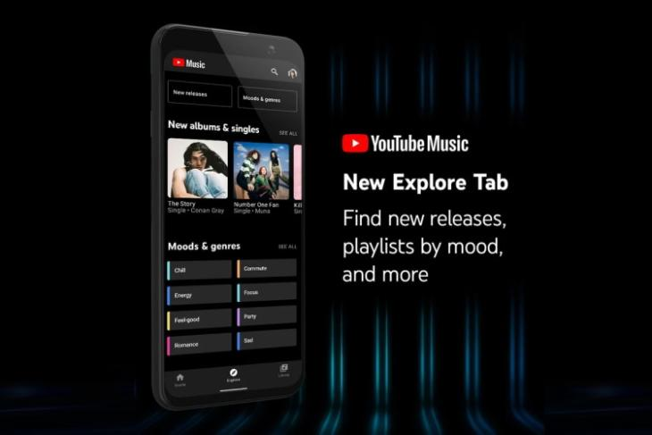 youtube music adds explore tab